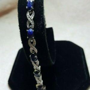 Blue Sapphire & Diamond Accent Infinity Bracelet